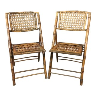 Rattan & Caned Back Folding Side Chairs - a Pair