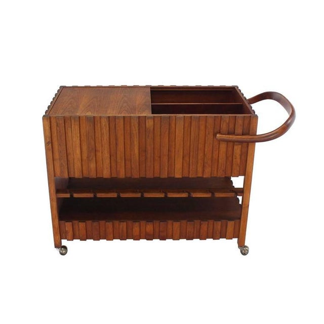 Mid-Century Modern Solid Oiled Walnut Bar Serving Cart For Sale - Image 6 of 8