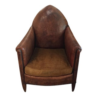 Early 20t Century French Gothic Style Leather Chair For Sale
