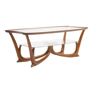 2950s Italian Mahogany Coffee Table With Glass Top For Sale
