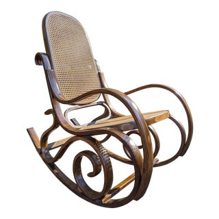 Dark Exotic Wood Thonet-Style Bentwood Rocker Rocking Chair W/Cane Back & Seat For Sale