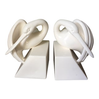 Fitz and Floyd Vintage Ceramic Crane Bookends For Sale