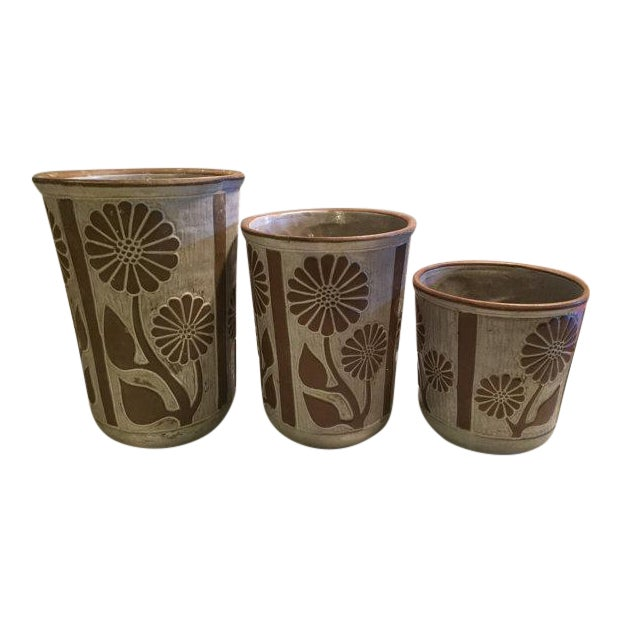 1970s David Stewart for Lion's Valley Studio Pottery Canisters - Set of 3 For Sale
