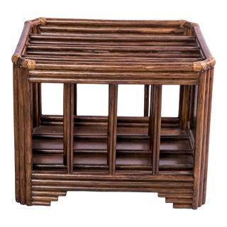 Vintage Rattan Magazine Caddy For Sale
