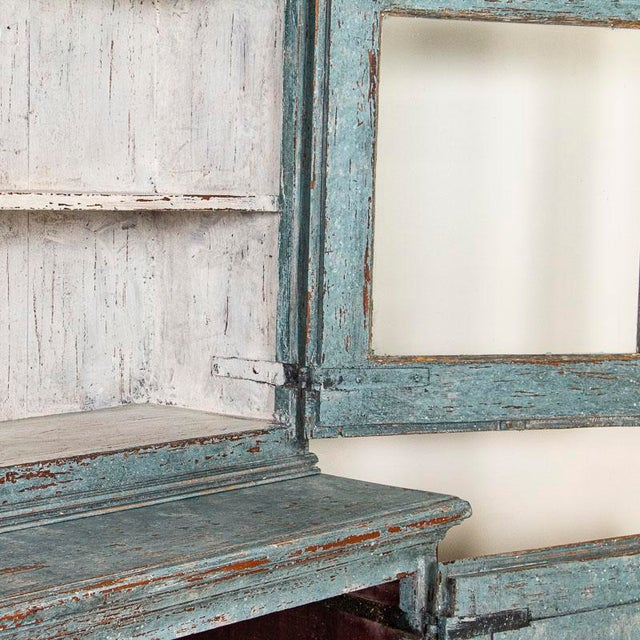 Antique Blue Painted Bookcase Display Cabinet From Sweden For Sale - Image 6 of 13