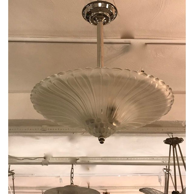 Georges Leleu French Art Deco Chandelier by G Leleu For Sale - Image 4 of 12