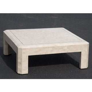 1980s Hollywood Regency Maitland Smith Ivory Stone Coffee Table Preview