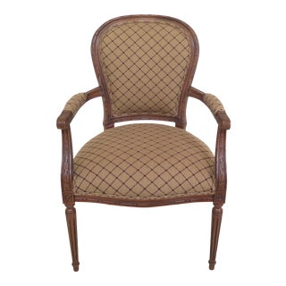 Ethan Allen French Louis XVI Style Balloon Back Arm Chair For Sale