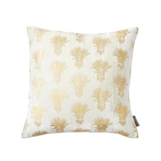 Weald Ivory Silk Velvet Pillow With Gold Foil Accents For Sale