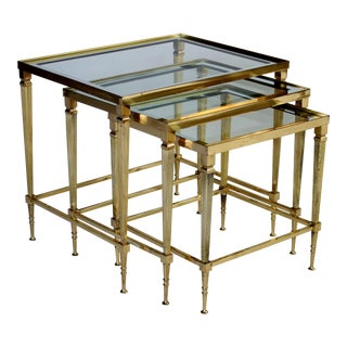 French Mid-Century Brass Nesting Tables - Set of 3