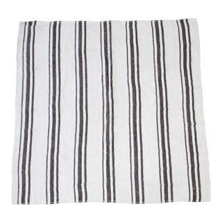 Vintage Turkish Flat-Weave Sam Rug in Oyster White With Brown Stripes For Sale