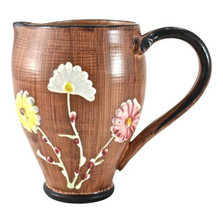 Italian Terracotta Faux Bois Pitcher
