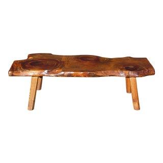 Vintage Organic Wood Tree Slab Surfboard Coffee Table Pioneer Furniture Vermont