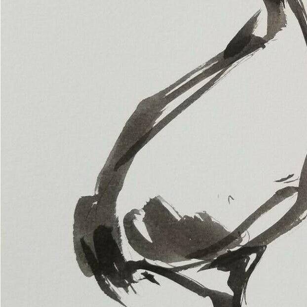 "Contemporary Jose Trujillo Abstract Minimalist Ink Wash - Marsh Long Beak Bird - 9x12"" For Sale - Image 3 of 4"