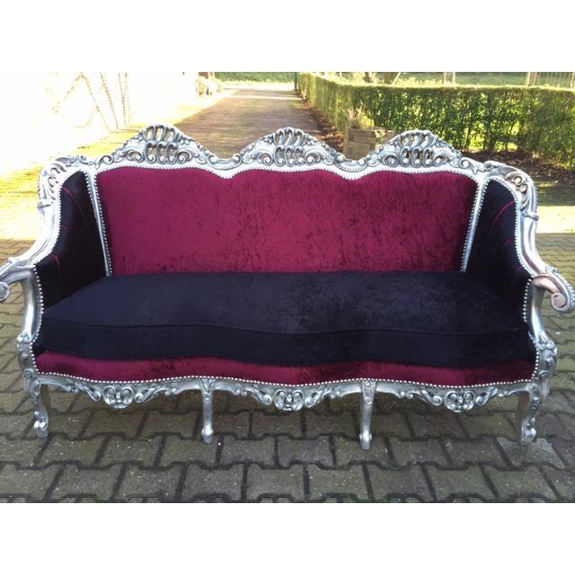 Red & BlackVelvet Baroque Sofa - Image 6 of 8