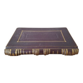 Overscale Antique Leather Treasurer's Record Book For Sale