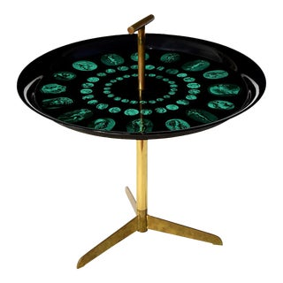 1950s Mid-Century Modern Piero Fornasetti Tripod and Brass Serving Table For Sale