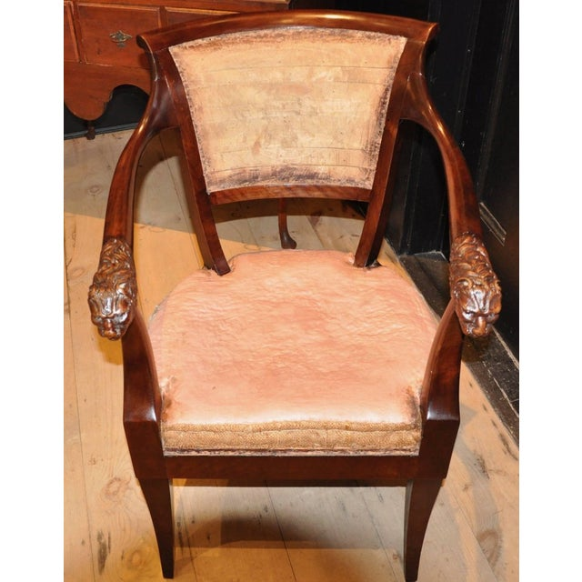 Pair of Russian 19th century neoclassical armchairs in Klismos form with lion head arm termination. -- Graceful, sturdy...
