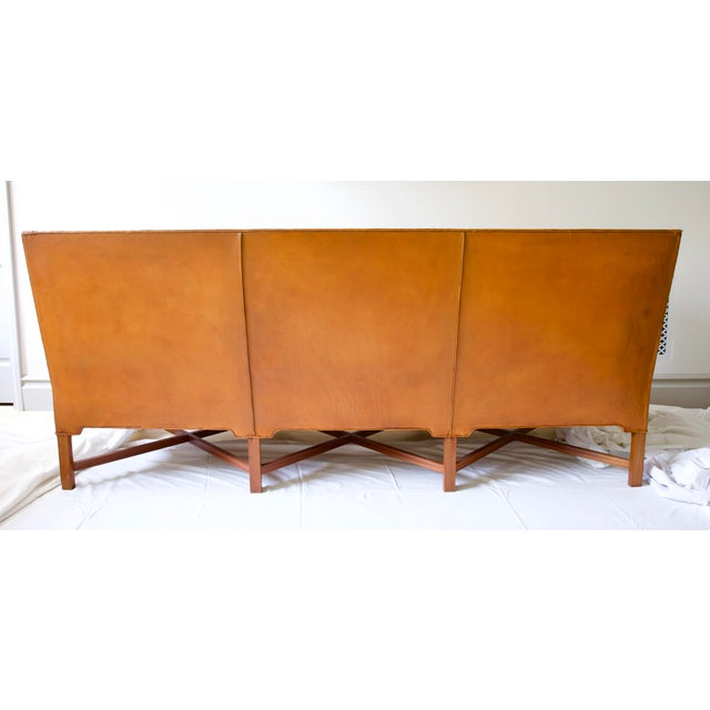Rud Rasmussen Kaare Klint Model 4118 Leather and Legs of Mahogany Sofa For Sale - Image 4 of 8