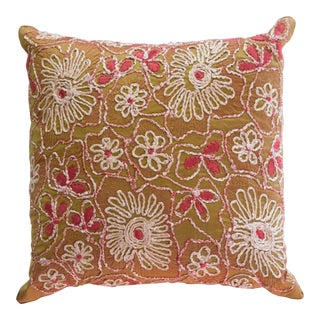 Anke Drechsel Hand Embroidered in Forest Green Pillow For Sale