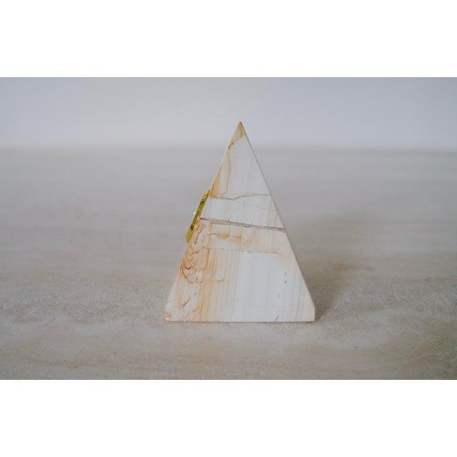 Postmodern Vintage Marble Pyramid Clock For Sale - Image 3 of 7