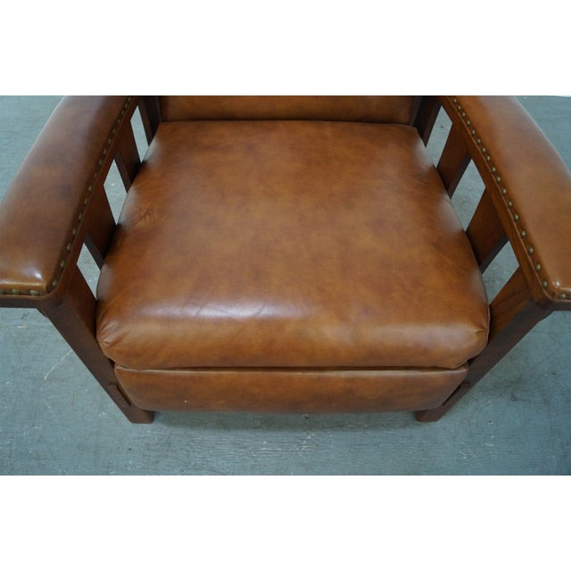 Mission Oak Leather Recliner Lounge Chair - Image 9 of 10