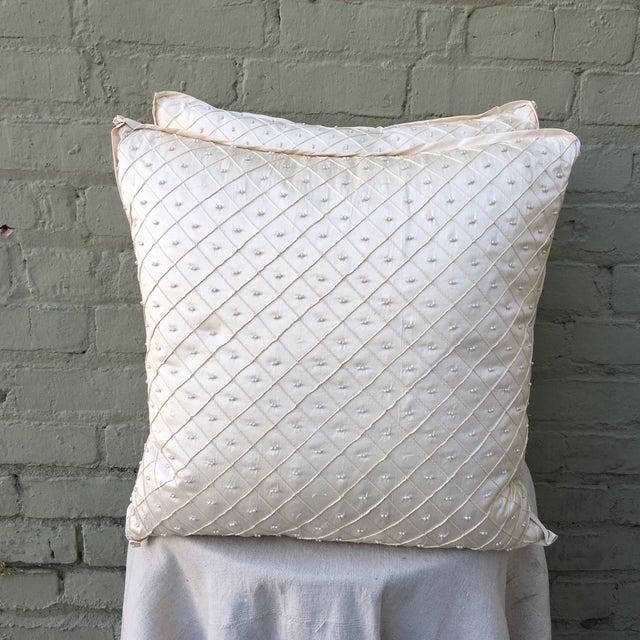Cream Silk Pearled Pillows - Pair - Image 2 of 5