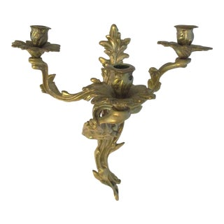 1980s Brass Hanging Leafed Branch Candle Holder For Sale