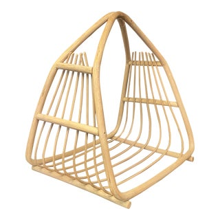 Vintage Bamboo Magazine Rack in the Style of Franco Albini For Sale