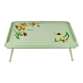 Vintage Shabby Chic Painted Wood Adjustable Breakfast Tray For Sale