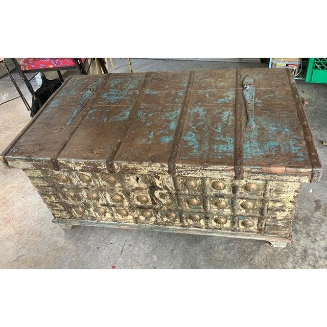 Antique Teak & Brass Trunk For Sale - Image 13 of 13