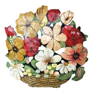 1940s Vintage French Tole Flowers Bunch Decoration For Sale