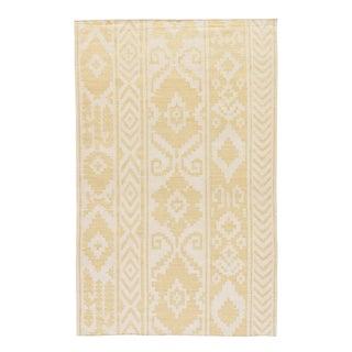 Jaipur Living Farid Handmade Ikat Yellow/Cream Area Rug - 5′ × 8′ For Sale