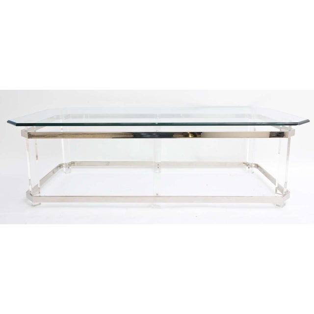 1970s Rectangular Lucite and Chrome Cocktail Table by Charles Hollis Jones For Sale In West Palm - Image 6 of 11