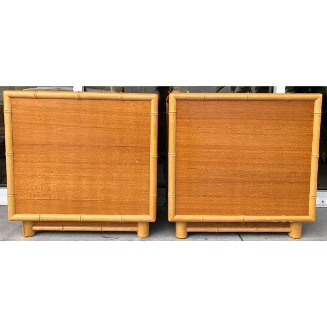 Wood Coastal Style Bamboo/Rattan Nightstands For Sale - Image 7 of 8