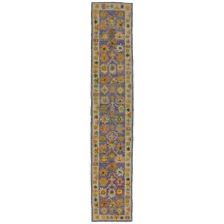 "Colorful Purple Oushak Runner With Modern Style, Extra-Long Hallway Runner - 3' X 15'10"" For Sale"