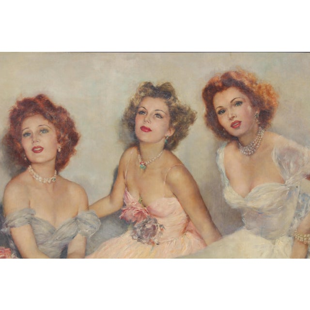 "Oil Paint Mid 20 C. Massive Painting of ""Gabor Sister"" by Artist Pal Fried For Sale - Image 7 of 10"