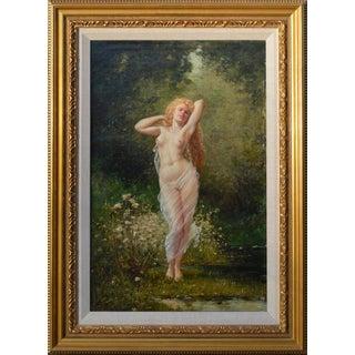 Fausto Giusto Eugene Galien-Laloue Barbizon Nude Painting 1890 For Sale
