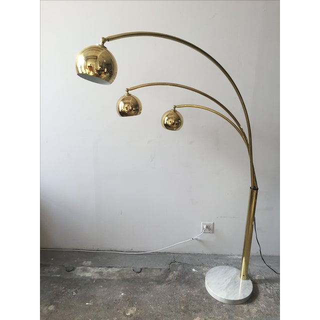 Mid-Century Brass 3 Branch Orb Lamp W/ Marble Base - Image 4 of 10