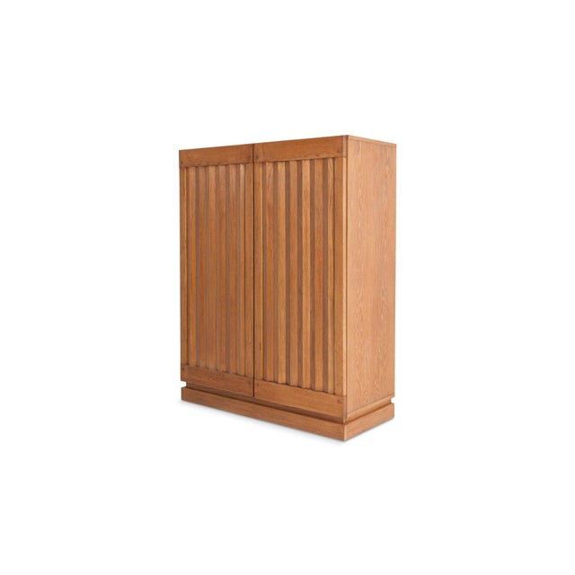 Brutalist Minimalist Natural Oak Bar Cabinet For Sale - Image 3 of 12
