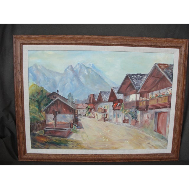 This is a very nice oil on canvas painting of a landscape of a road into a rural town. The painting is done in an...