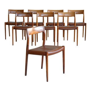 Niels O. Møller Set of Eight Rosewood Model 77 Dining Chairs With Leather Seats For Sale
