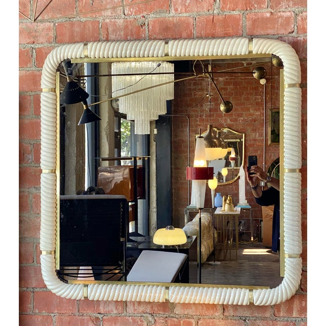 Tommaso Barbi Porcelain Wall Mirror With Brass. A lovely wall accent!