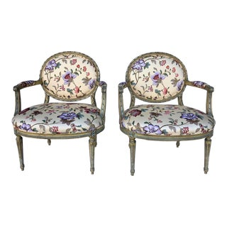 French Carved Fauteuil Chairs- a Pair For Sale