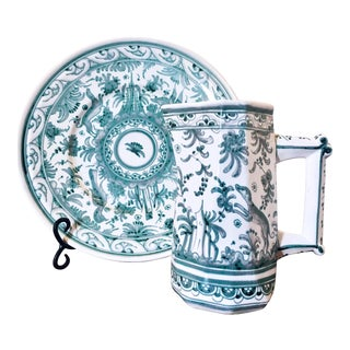 Portuguese Berardos Hand-Painted Charger and Pitcher Set For Sale