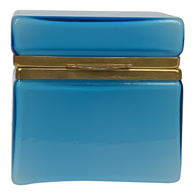 Early 20th Century Turquoise Murano Casket Box For Sale