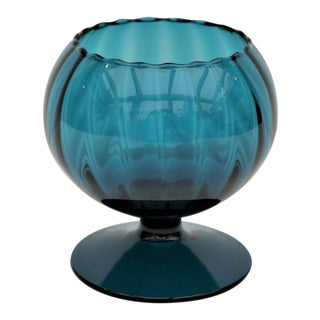 Teal Blue Blown Glass Vessel For Sale