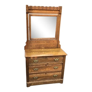 Antique Victorian Spoon Carved Oak Dresser With Mirror For Sale