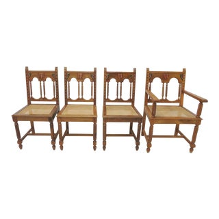 Spanish Style Caned Seat Dining Chairs - Set of 4 For Sale
