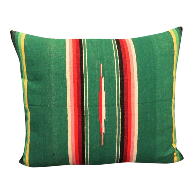 Mexican American Handwoven Serape Pillow For Sale